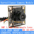 "1.3MP AHD AR0130 CCTV 960P mini night vision Camera Module 1/3 ""HD 5MP 1.8mm wide-angle lens surveillance camera"