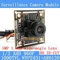 """1.3MP AR0130 CCTV AHD 960 P mini Módulo de Câmera de visão noturna 1/3 """"HD 5MP 1.8mm wide-angle lente da câmera de vigilância"""