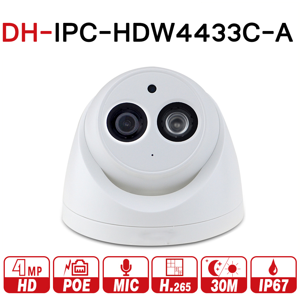 DH IPC-HDW4433C-A with logo original 4MP POE Network IR Mini Dome IP Camera Starnight Built-in MiC replace IPC-HDW4431C-A CCTV dahua 4mp ip camera ipc hdw4433c a replace ipc hdw4431c a poe ir30m h 265 built in mic cctv dome camera multiple language