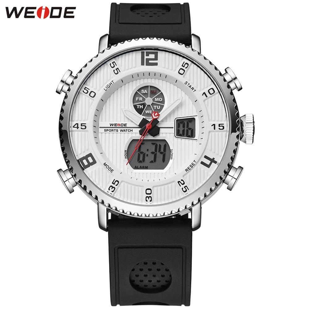 Fashion WEIDE White Dial Men Watch Functional Sport Watch Men Digital Quartz Silicone Band Electronic Wristwatch Hombre Relogios все цены