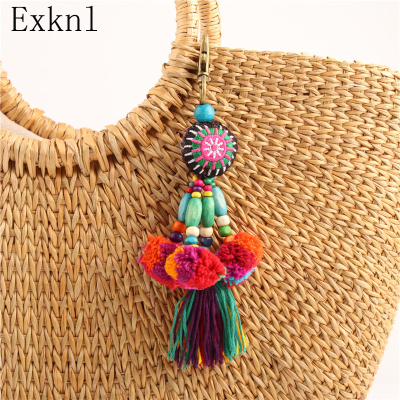 Exknl Bag Fashion Jewelry Tassel Car Keychain Boho Style Flower Charms Wooden Beads With Pom Pom Keychain Colorful Key Ring image
