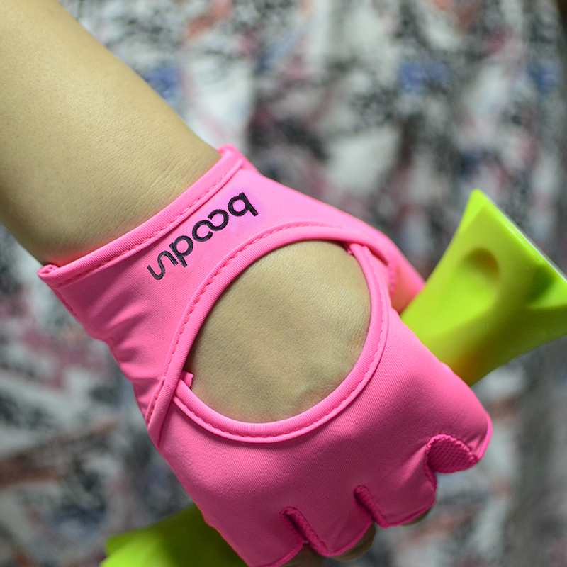 BOODUN Damen Gym Handschuhe Halbfinger mit Palm Leder Atmungsaktiv Gewichtheben Bodybuilding Hantel Yoga Sport Handschuhe Pink