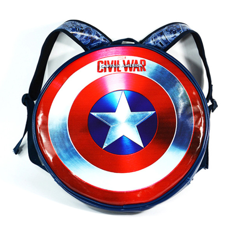 Anime Captain America LOGO Backpack Civil War Avengers Super Hero Students Boy Girl School Bags Round Shape Leather Bag mochila anime civil war action figures captain america statue avengers bust collection model toy
