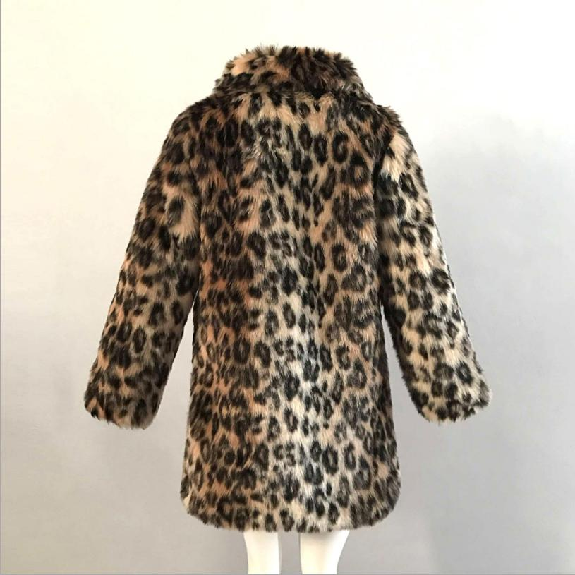 De Léopard Chaud En Fourrure Femmes Épaissir Plus Print L1393 Fausse Faux Femelle Mode Hiver Outwear Leopard Occasionnel La Taille Manteau Veste d6wpvd