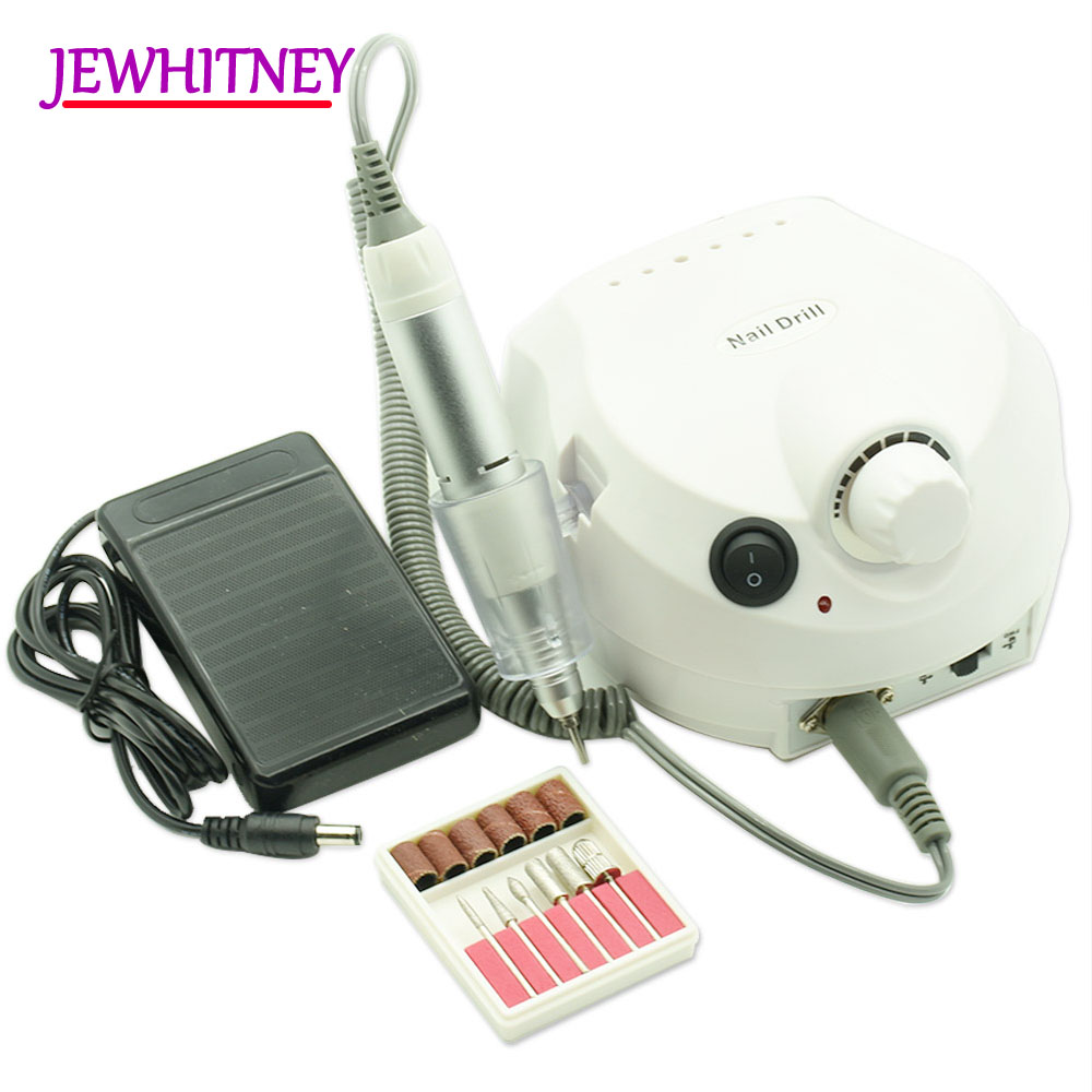 JEWHITENY 30000 RPM Electric Nail Drill Machine for Manicure Pedicure Drill Nails Accessoires Tool 2018 Nail Milling Cutters Set