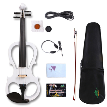 Yinfente White Electric Silent Violin 4/4 Ebony wood Parts Hand-made Sweet Tone Free Case+Bow#EV5