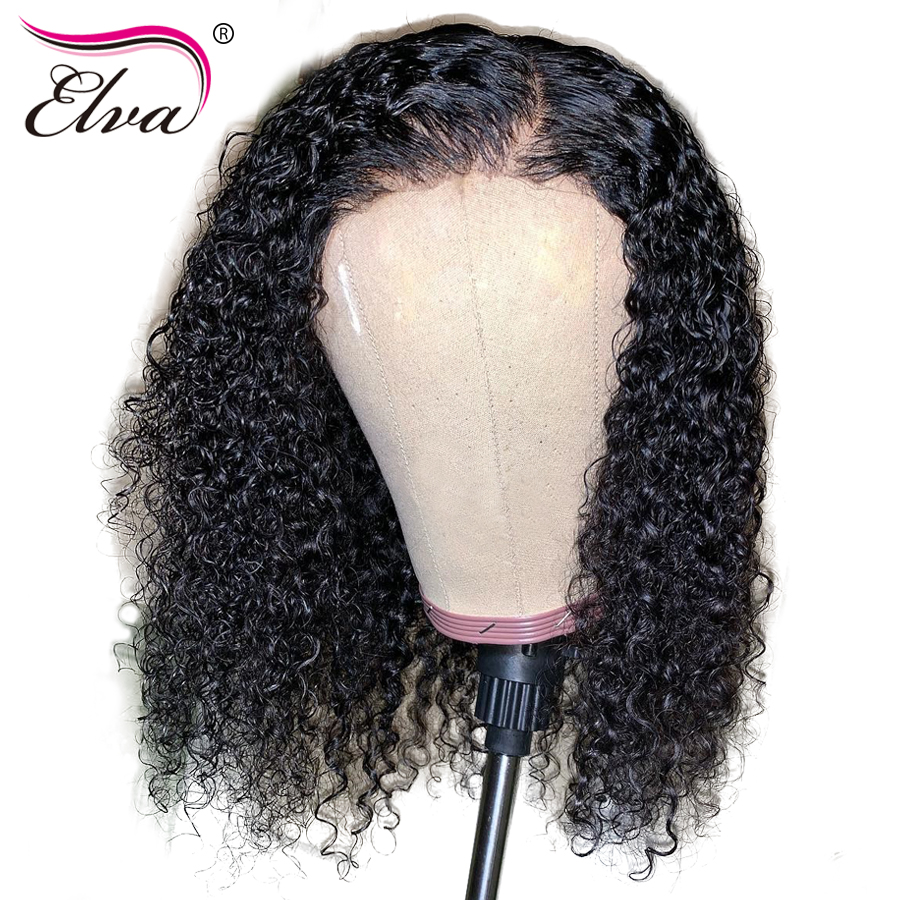 Wigs Short Human-Hair Full-Lace Curly Baby with Brazilian Pre-Plucked Bob Elva-hair/10/16-