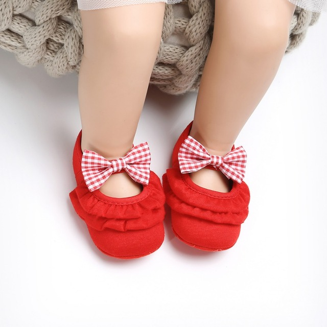 2019 Newborn Baby Girl Shoes Infant Toddler Baby Crib Shoes Princess Lace Mary Jane Big Bow Soft Soled First WalkerA 3
