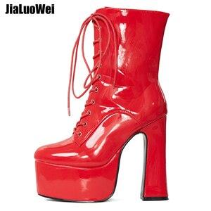Image 5 - Jialuowei 2019 novo 15 cm super alta plataforma de salto grosso botas de tornozelo feminino rendas up apontou toe bloco quadrado salto sapatos de senhoras