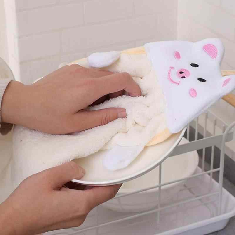 皿布ネクタイサンゴベルベットキッチンソフト漫画動物ハンギングハンドタオル吸収タオルハンズフリー使用