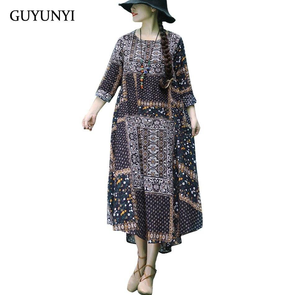 GUYUNYI New National Style Dress Long Loose Retro Dress Linen Cotton Small Flower Pile Pattern 2018 Fall Women's vestidos CX1086