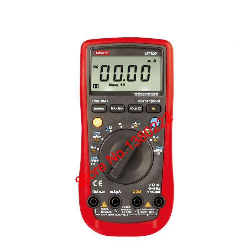 UNI-T UT109 Voltmeter Professional Auto 4000 Resistance Capacitance Frequency Rs232 Digital Multimeter ACDC voltmeter DC Ammeter vichy vc9806 digital multimeter dmm ammeter voltmeter ohmmeter w capacitance frequency