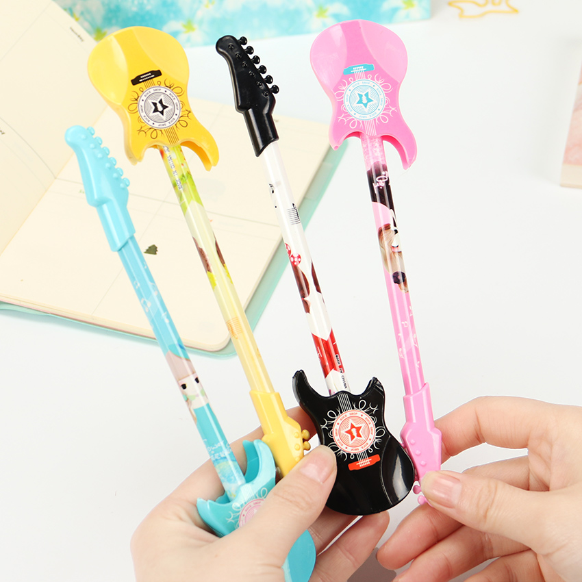 Creative Guitar Gel Pen 0.38mm Black Korean Stationery Office School Supplies Kawaii Musical Instruments Cool Writing Pens