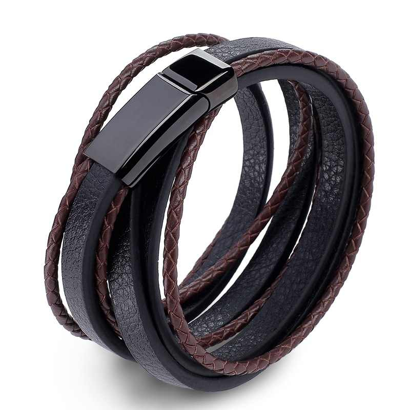 Punk Men Jewelry Black/Brown Braided Leather Bracelet Stainless Steel Magnetic Clasp Fashion Bangles 2018 Men's Bracelet Gift