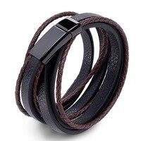 Pulsera de cuero trenzado para hombre, brazalete de acero inoxidable con cierre magnético, color negro y marrón, joyería Punk, 2021