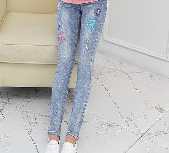 2016 новая осень джинсовые брюки беременные женщины заботятся живот брюки ноги карандаш брюки стрейч леггинсы