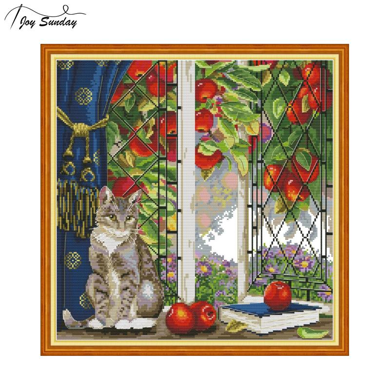 Joy Sunday Cat Printed Cross Stitch Kit Embroidery Stitch 14 11ct DMC DIY Printed Canvas Aida Fabric Cross Stitch Needlework Set in Package from Home Garden