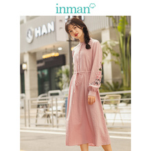 INMAN 2019 Autumn New Arrival Stand up Collar Pretty Embroid