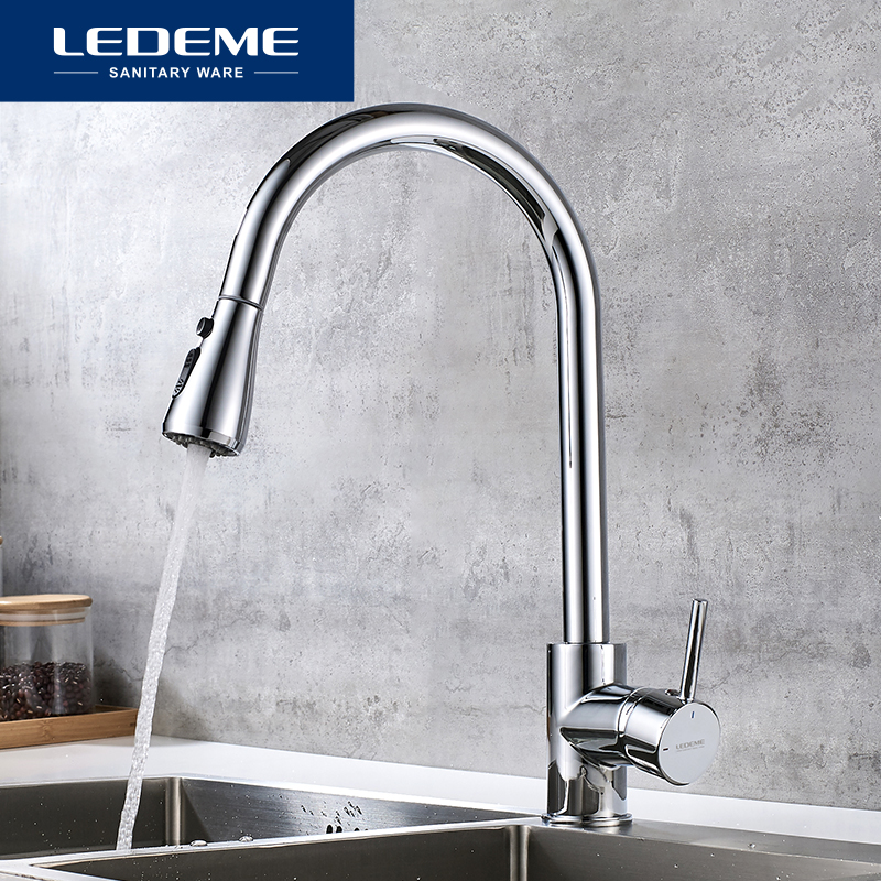 LEDEME Single Handle Kitchen Faucet Mixers Sink Tap Pull Out Multi Water Outlet Kitchen Faucet Modern Hot and Cold Water L6155LEDEME Single Handle Kitchen Faucet Mixers Sink Tap Pull Out Multi Water Outlet Kitchen Faucet Modern Hot and Cold Water L6155
