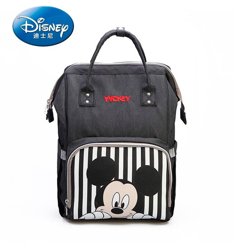Disney Mickey Minnie viaje pañal Bolsa Maternidade Bolsa impermeable cochecito USB calentador de biberones momia Bolsa de pañales mochila