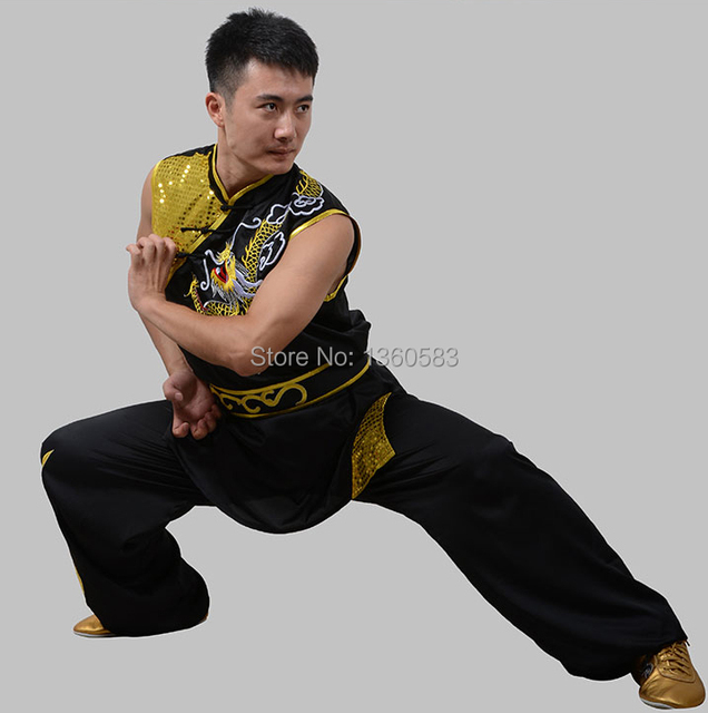 d0b480e49 Chinese Sleeveless wushu uniform Kungfu clothes Martial arts suit Nanquan performance  clothing omen men kids embroidery dragon