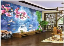 custom photo 3d wall cloth chinese silk mural Romantic swan TV background wall in the night room 3d stereoscopische print stof(China)