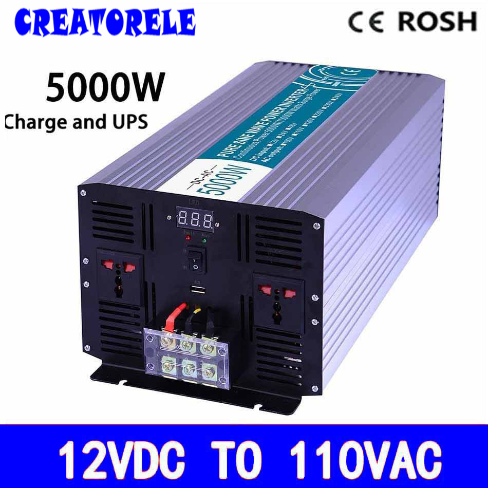 P5000-121-C pure sine wave off grid UPS iverter 5000w 12v to 110v soIar iverter voItage converter with charger and UPS 5000w dc 48v to ac 110v charger modified sine wave iverter ied digitai dispiay ce rohs china 5000 481g c ups