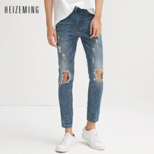 HEIZEMING 2017 Male Jeans Hip hop mens style denims Pencil Pants pants Male Top Fashion Stretch Blackest A Pair Of Jean Skinny