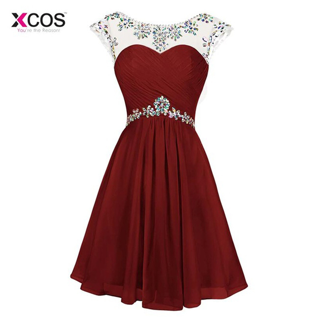 Xcos Beaded Crystal Burgundy Homecoming Dresses 2018 Cheap Sheer Neck Sexy Cut Out Back Short Formal Homeccoming Gowns