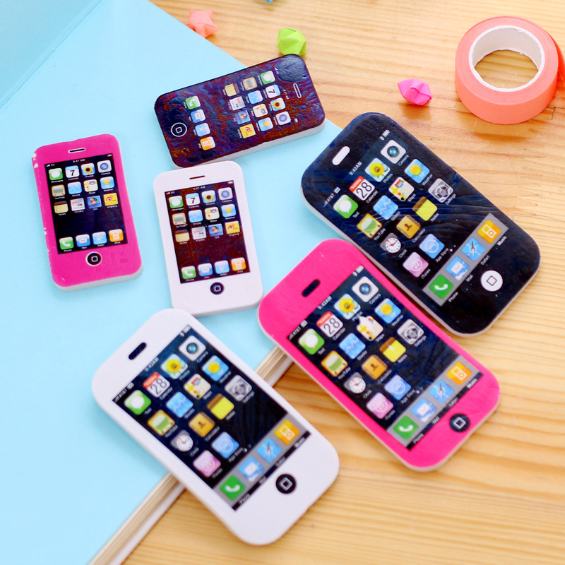 a156ab11c89ca4 Creative Children Telephone Mobile Shaped Rubber Cell Phone Pencil Eraser  School Supplies Erasers Kids Stationery Rubber Toys -in Eraser from Office  ...