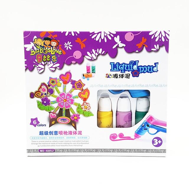 1set Chinese Version Play Doh Doh Vinci Playdough Draw toy.with 6 liquid mud clay 4 design tips 4 paint model 3D DIY paint gun