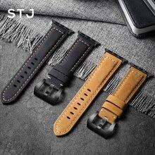 STJ בעבודת יד עור פרה רצועת השעון עבור אפל שעון להקות 42mm 38mm & Apple שעון סדרת 4 3 2 1 רצועת עבור iWatch 44mm 40mm צמיד
