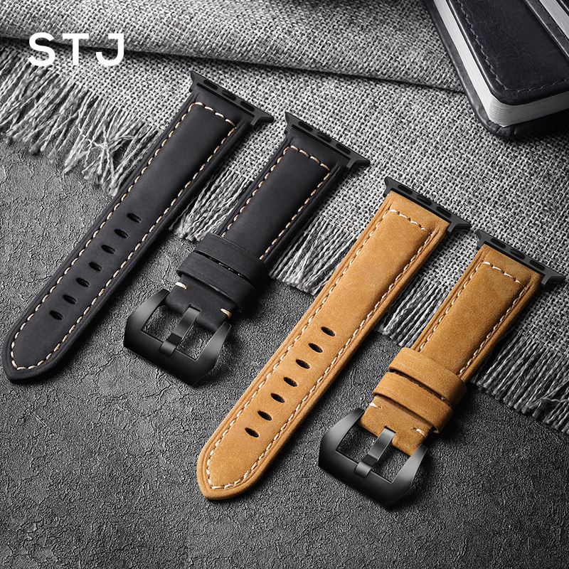 STJ Handmade Cowhide Watchband For Apple Watch Bands 42mm 38mm & Apple Watch Series 4 3 2 1 Strap For iWatch 44mm 40mm Bracelet-in Watchbands from Watches