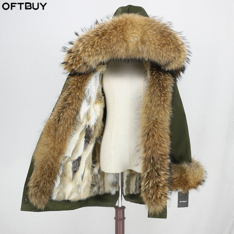 OFTBUY 2019 Waterproof Fabric Parka Winter Jacket Women Real Fur Coat Natural Raccoon Fur Hood Real Rabbit Fur Liner Streetwear