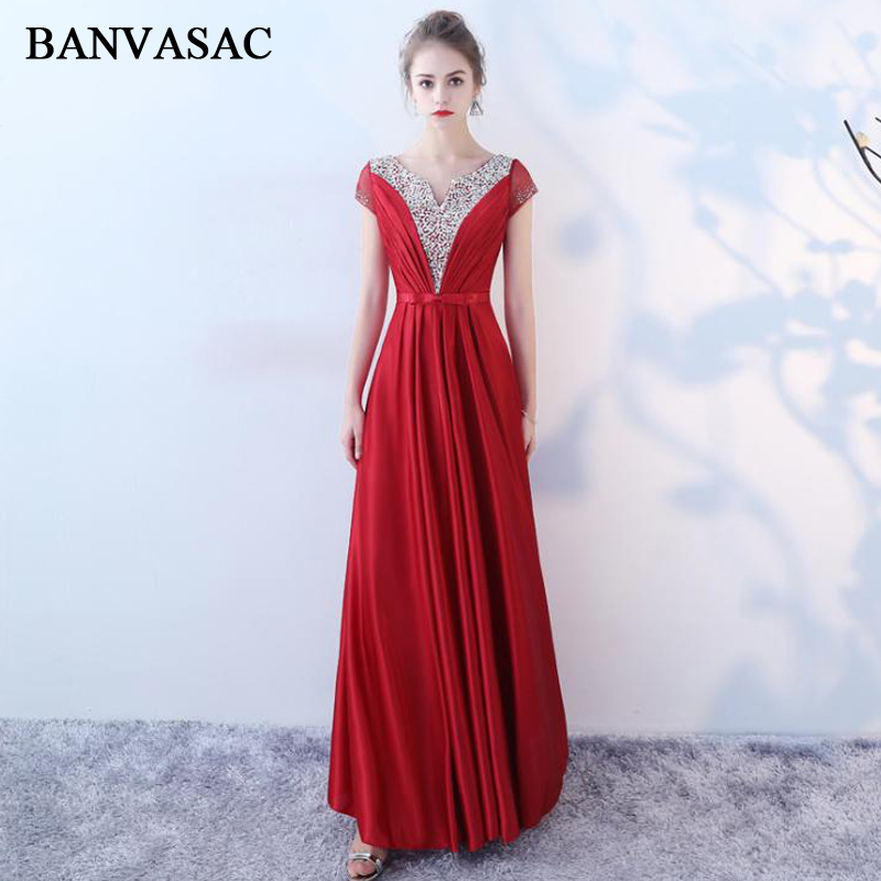 BANVASAC 2018 Crystal Sequined V Neck Lace A Line Long   Evening     Dresses   Party Bow Sash Short Sleeve Backless Prom Gowns