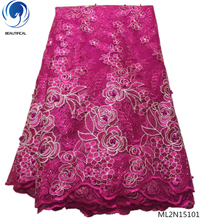 BEAUTIFICAL Plum red net lace fabric gold french fabrics 5yards latest arrival african tulle for woman ML2N151