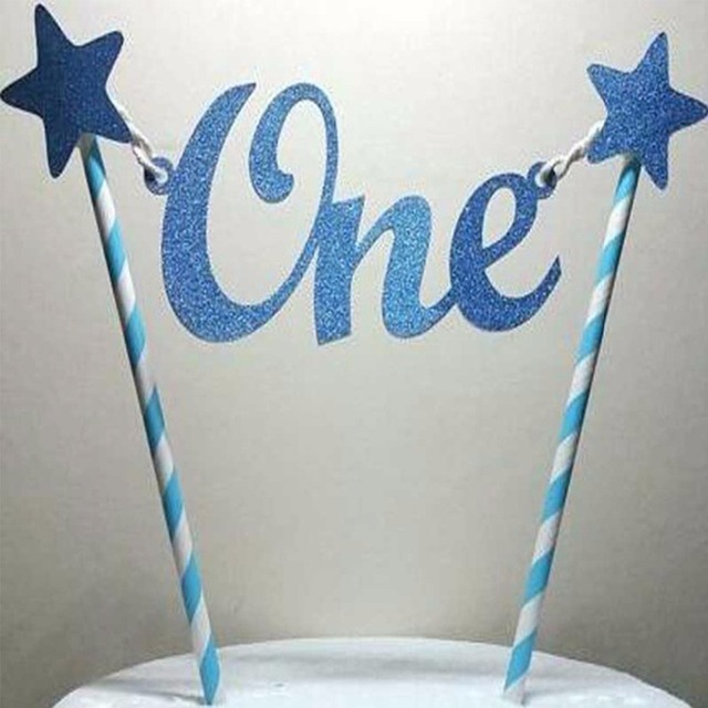 LAPHIL My First Birthday Blue Pink Cake Topper Paper Straws Happy 1st Party Decorations Boy Girl Favors