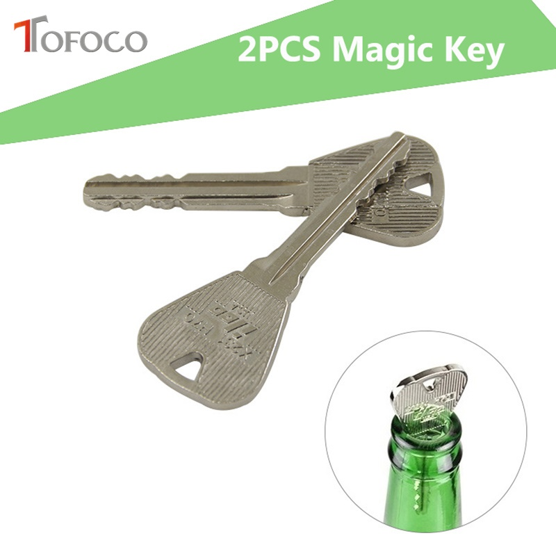 TOFOCO New 2 Pcs Magic Toys Folding Keys Through The Bottle Or Ring Through The Magic Skills Magic Props Prank Trick Fun Toy