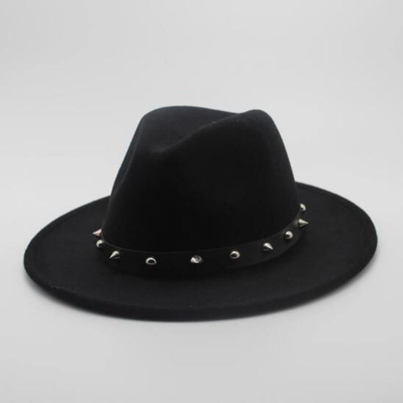 Women Men Wool Fedora Hat With Punk Rivet Ribbon Elegant Lady Dad Winter Autumn Wide Brim Jazz Church Godfather Sombrero Caps(China)