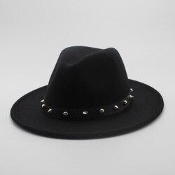 Для женщин Для мужчин шерсть фетровая шляпа с заклепками в стиле панк ленты элегантная дама папа зима-осень широкими полями Джаз церкви Кре...