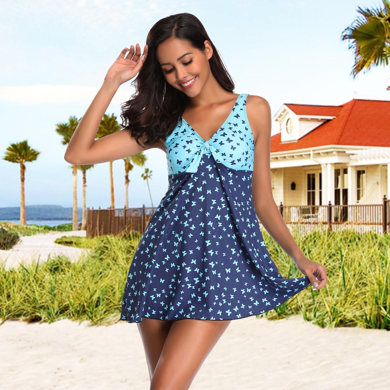 Women Tankini Swimsuit Dress Ladies Plus Size Butterfly Print Two Piece Swimdress with Boyshorts Bathing Set