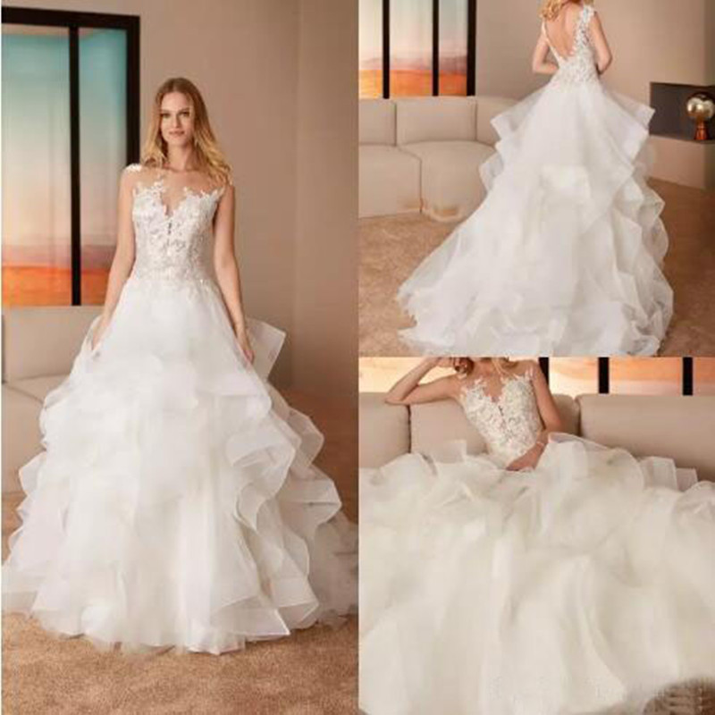 Sexy Deep V Neck Zipper Style A Line Wedding Gown Graceful