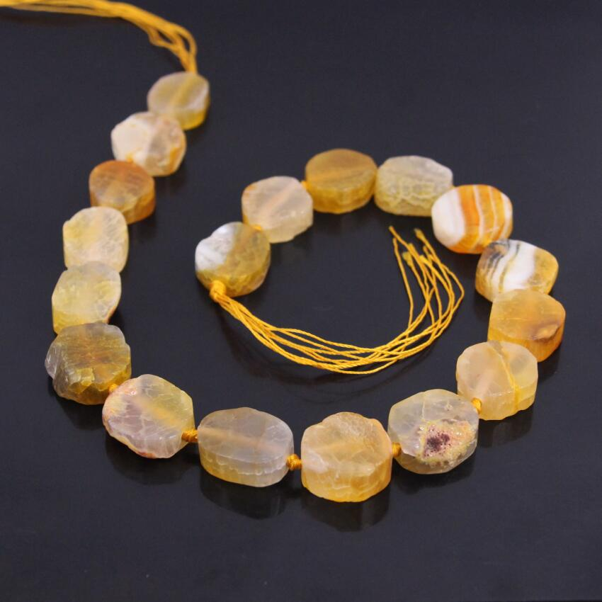 15.5strand Yellow Dragon Veins Agates Slab Slice Beads,Natural Onxy Stone Gems Nugget Pendant Nacklace Charms Jewelry Making