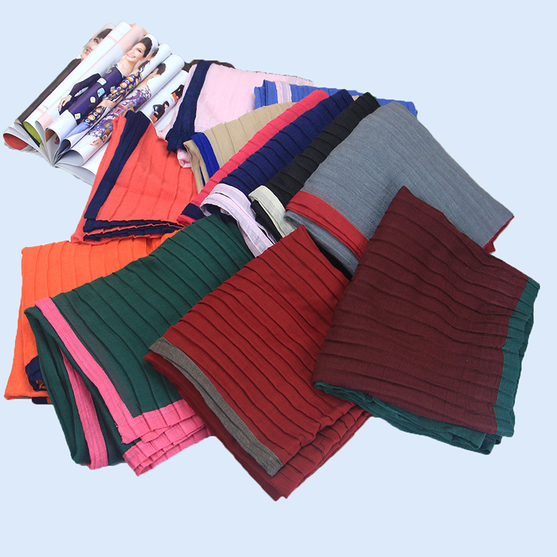 180x90cm Hot Sale Women Cotton   Scarf   Muslim Hijab Popular Muffler Casual Long Plain Wrinkle   Scarves   Shawl   Wraps   Stole TR005