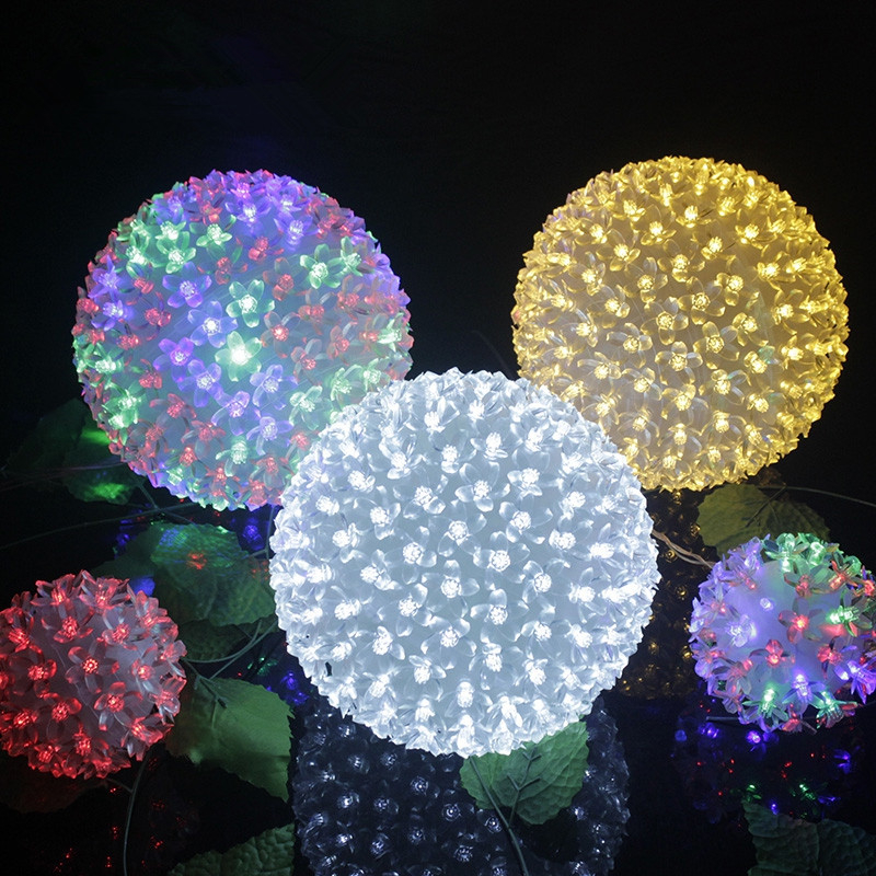 Dia.12cm Flower Led Ball Fairy Light Globe Cherry Blossom christmas Tree Fairy Lights Luminarias Home Decoration New Year Lamps fumat rose tree night lights novelty blossom tree lamp luminarias led home decoration indoor lighting pink white night lamps