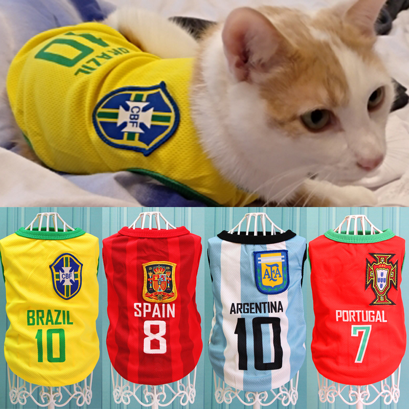 Pet Cat Football Clothes Tshirt Summer Sport Shirt Clothing For Small Cats Kitty Outfit Vest Kitten Soccer Jersey Pet Supplies