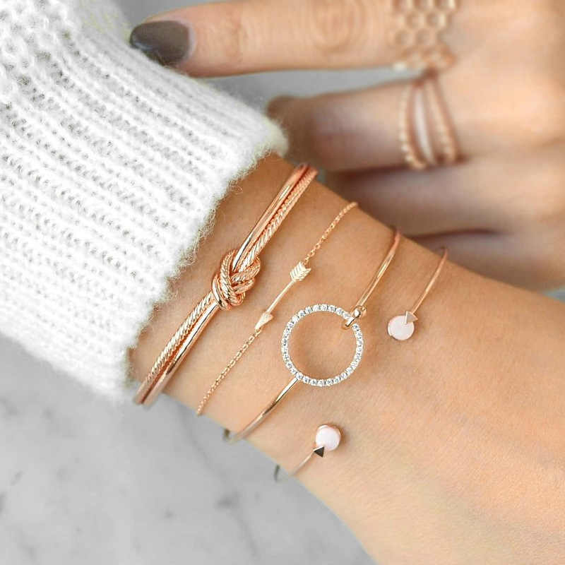 4pcs/Set Bohemian Metal Knot Bangle Set Crystal Arrow Pink Button Gold Silver Charm Bracelets for Women Rose Jewelry Accessories