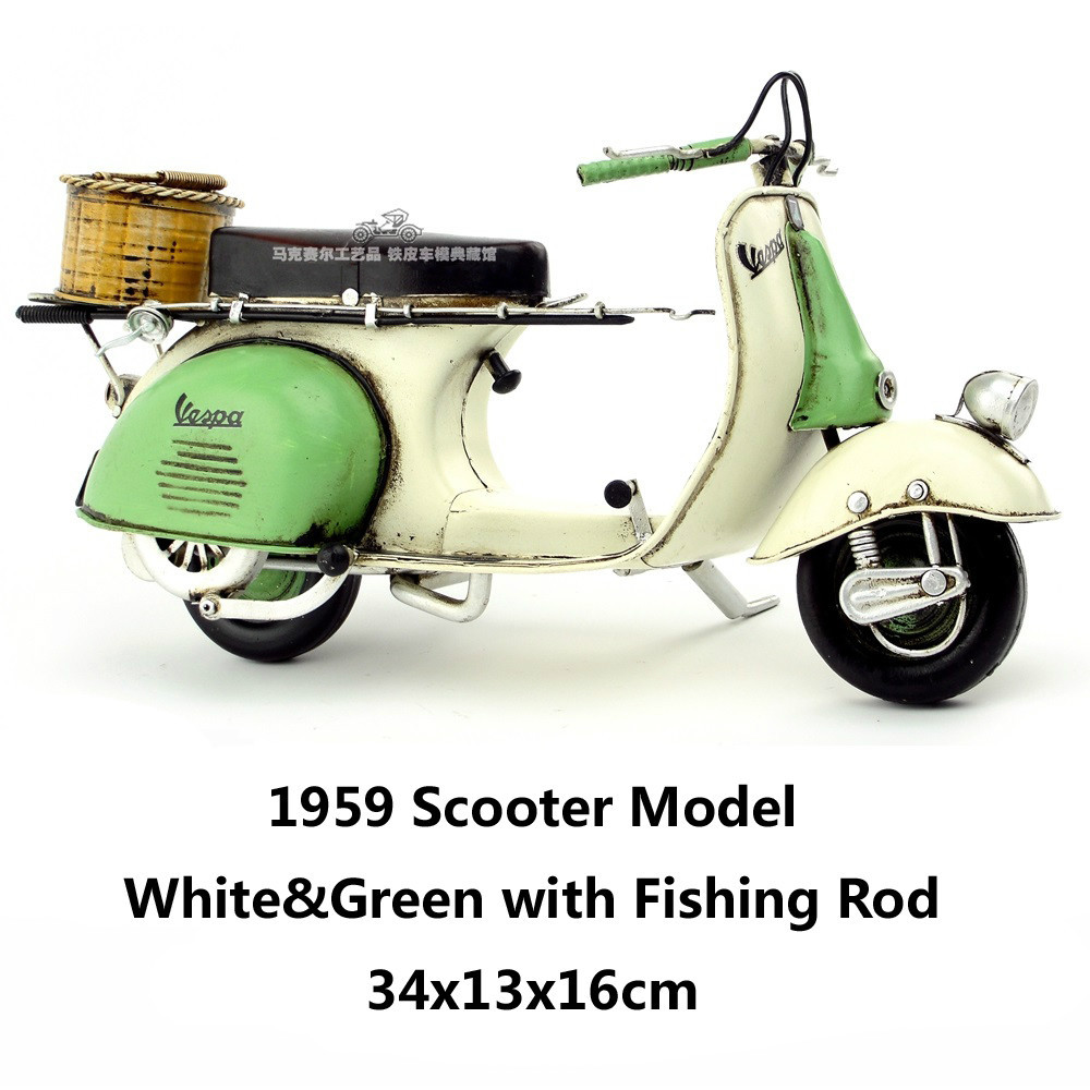 1959 scooter model white green fishing rod handmade for Green fishing rod