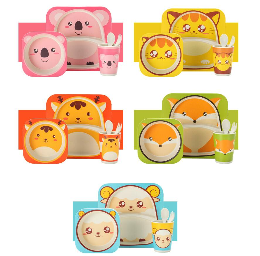 5pcs/sets Children's Tableware Cartoon Rice Baby Feeding Bowl Meal Bowl Bamboo Fiber Kids Cute Cutlery Boy Girl Gift Tableware