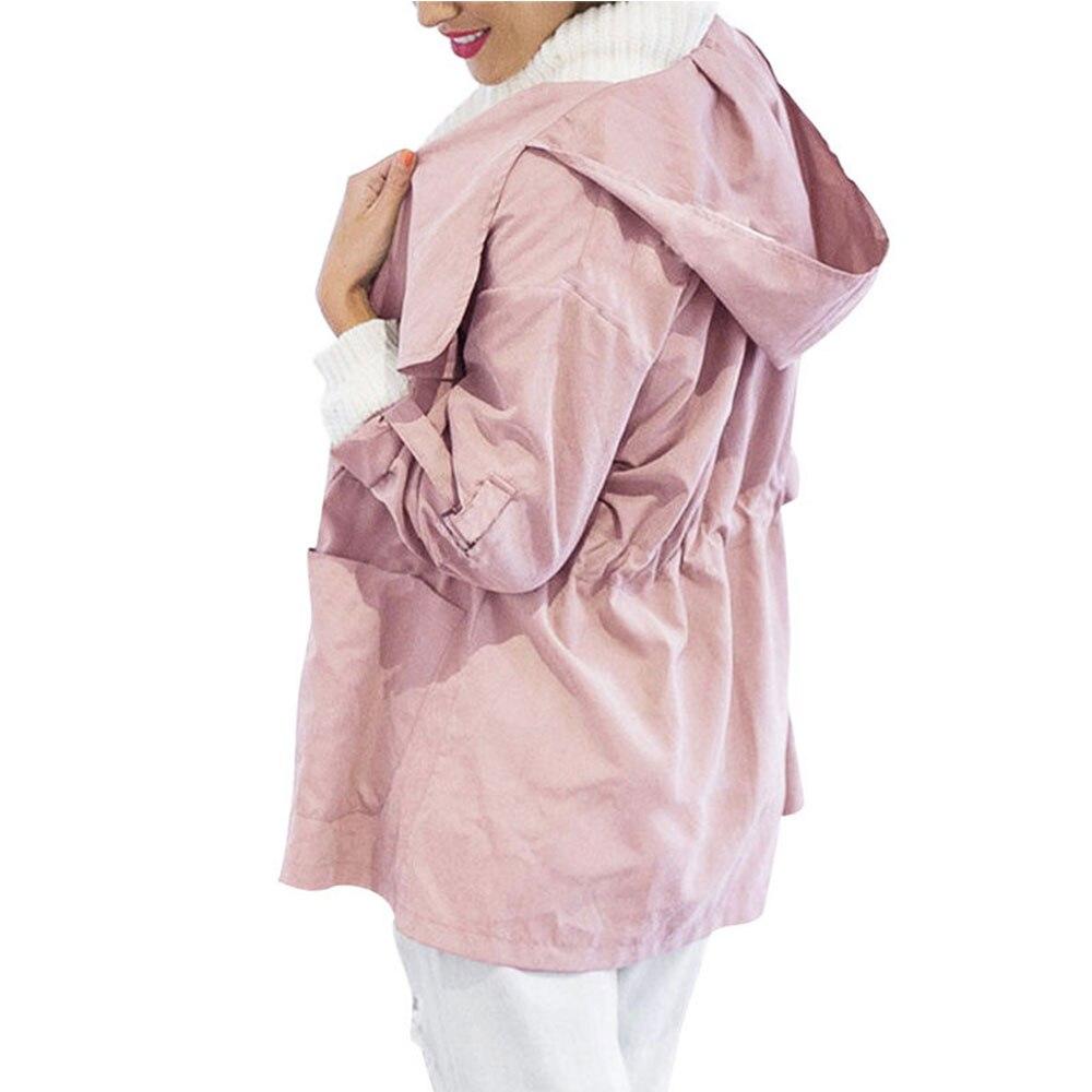 New 2019 Women Jack Coat Autumn Long Sleeve Hooded Coat Jacket Casual Elastic Waist Pocket Kimono New 2019 Women Jack Coat Autumn Long Sleeve Hooded Coat Jacket Casual Elastic Waist Pocket Kimono Female Loose Outwear
